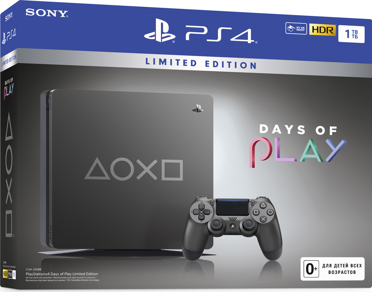 Игровая приставка Sony PlayStation 4 Slim Время играть 1TB, черный игровая консоль sony playstation 4 slim 1tb black cuh 2208b gran turismo sport god of war horizon zero dawn ce psn 3 месяца