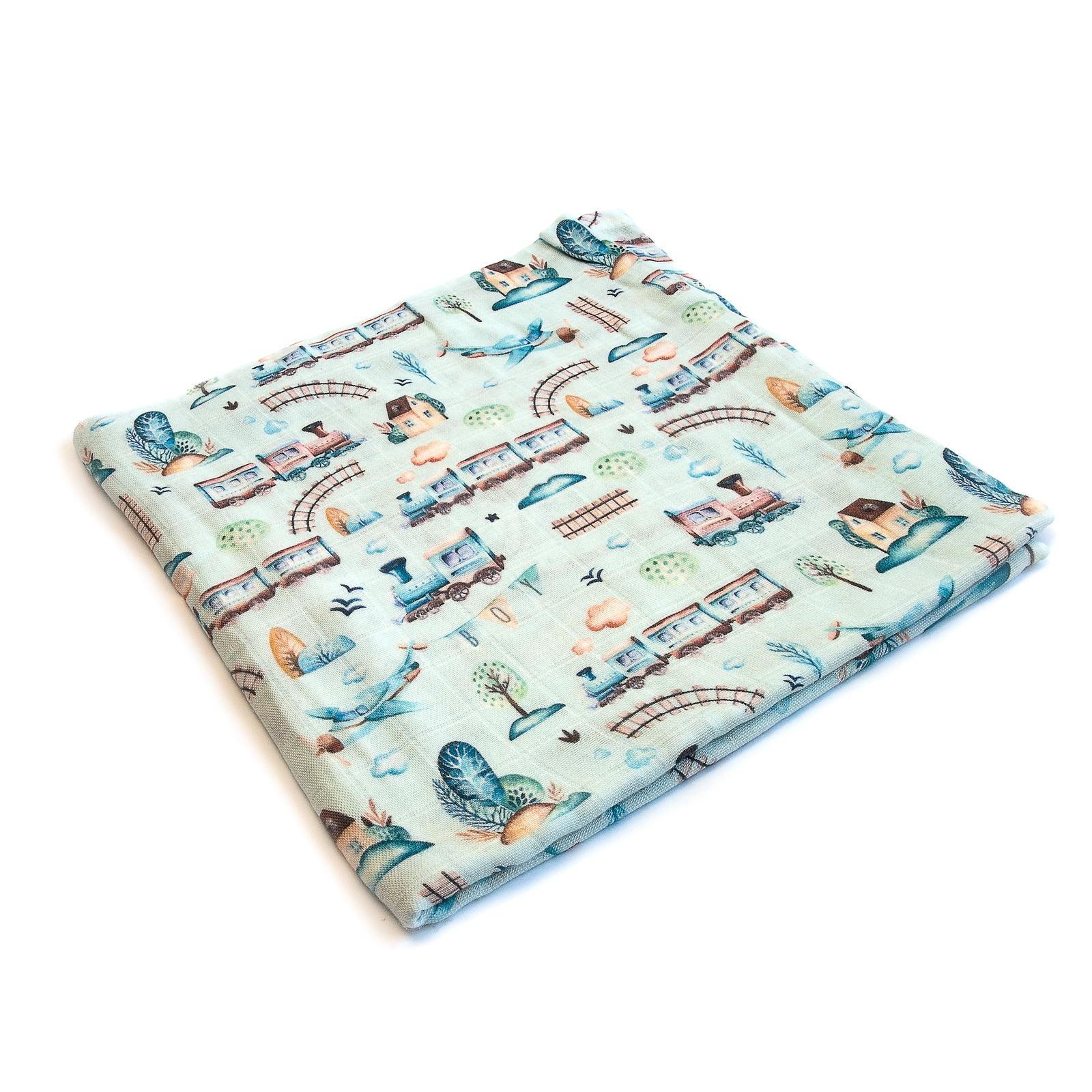 Пеленка текстильная MamSi Муслиновая пеленка Самолёты, Поезда коричневый, белый, голубой Невероятно мягкая муслиновая...