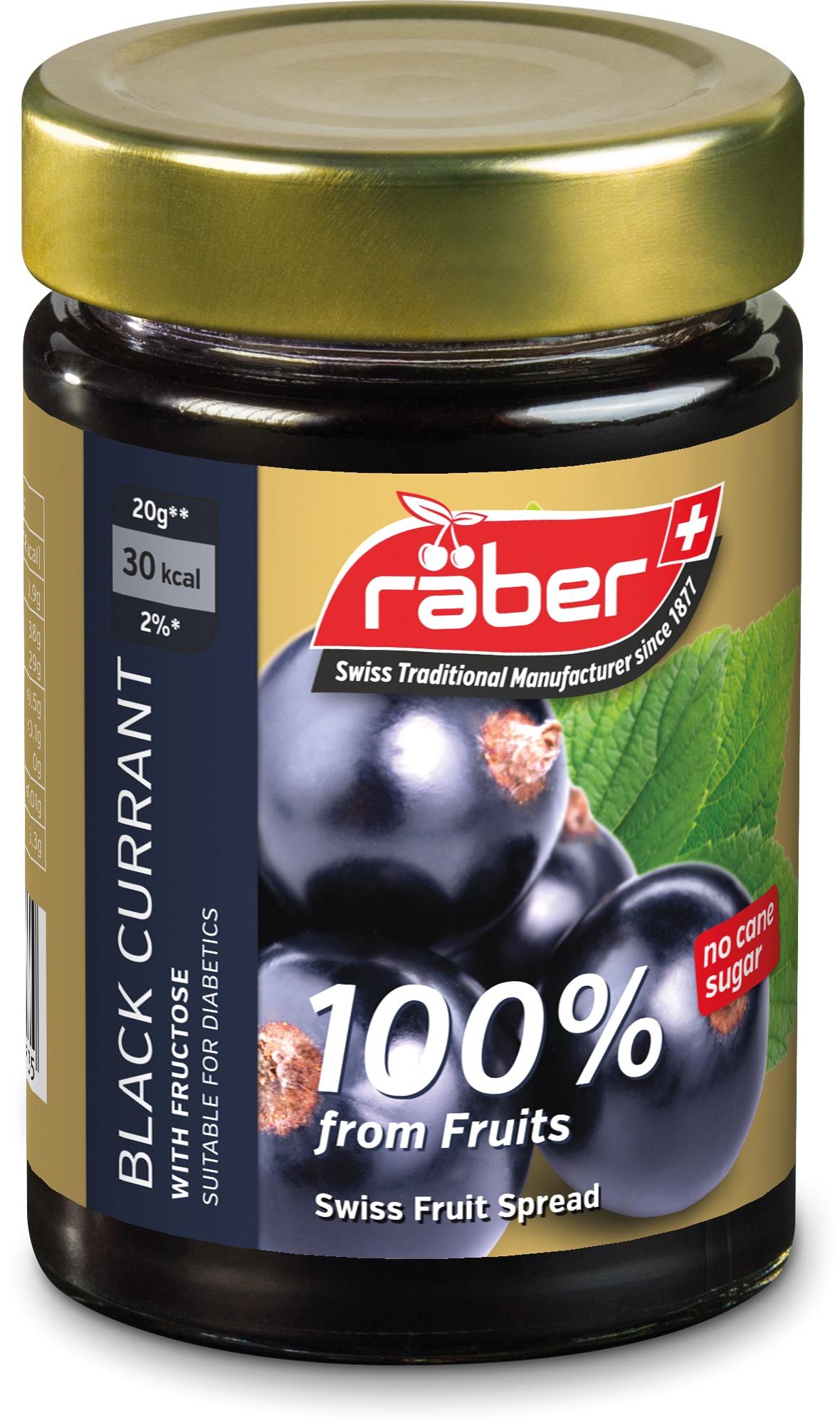 Джем Raber -швейцарский БЕЗ ДОБАВЛЕНИЯ САХАРА из черной смородины , содержание фруктов 100% Стеклянная банка, 210 г