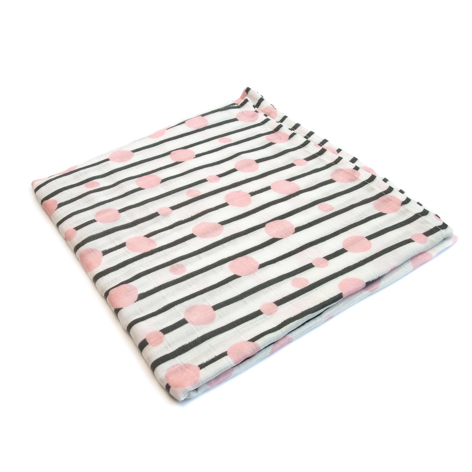 Пеленка текстильная MamSi Муслиновая пеленка Черничные листья белый, черный, розовый