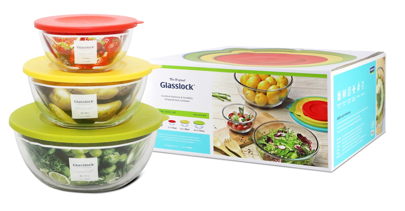 Набор контейнеров Glasslock GL-1157 (1000ml + 2000ml + 4000ml, круглые)