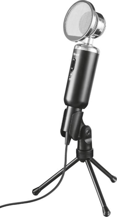 Стрим микрофон Trust Madell Desk Винтаж ПопФильтр, 21672, черный