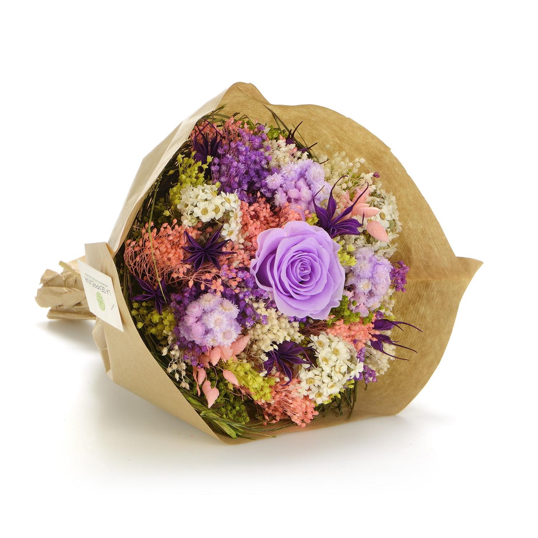 все цены на Букет из сухих и стабилизированных цветов Гарден лиловый онлайн