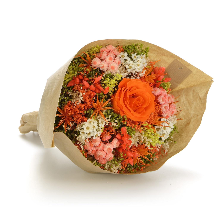 все цены на Букет из сухих и стабилизированных цветов Гарден оранжевый онлайн