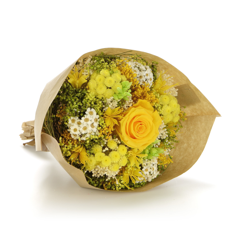 все цены на Букет из сухих и стабилизированных цветов Гарден жёлтый онлайн