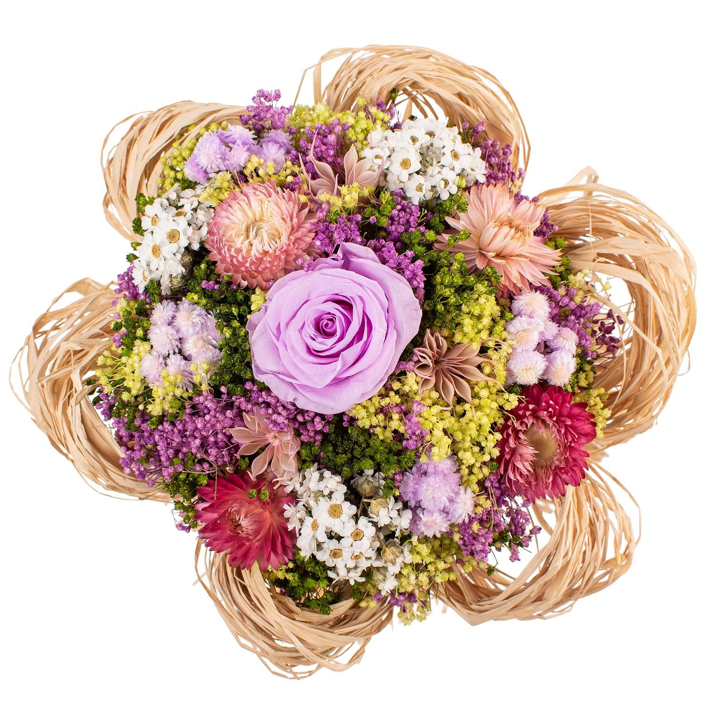 все цены на Букет из сухих и стабилизированных цветов Раффия лиловый онлайн
