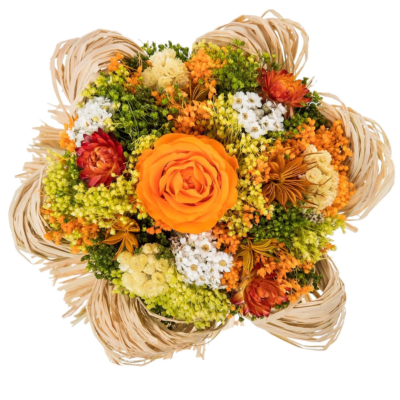 все цены на Букет из сухих и стабилизированных цветов Раффия оранжевый онлайн
