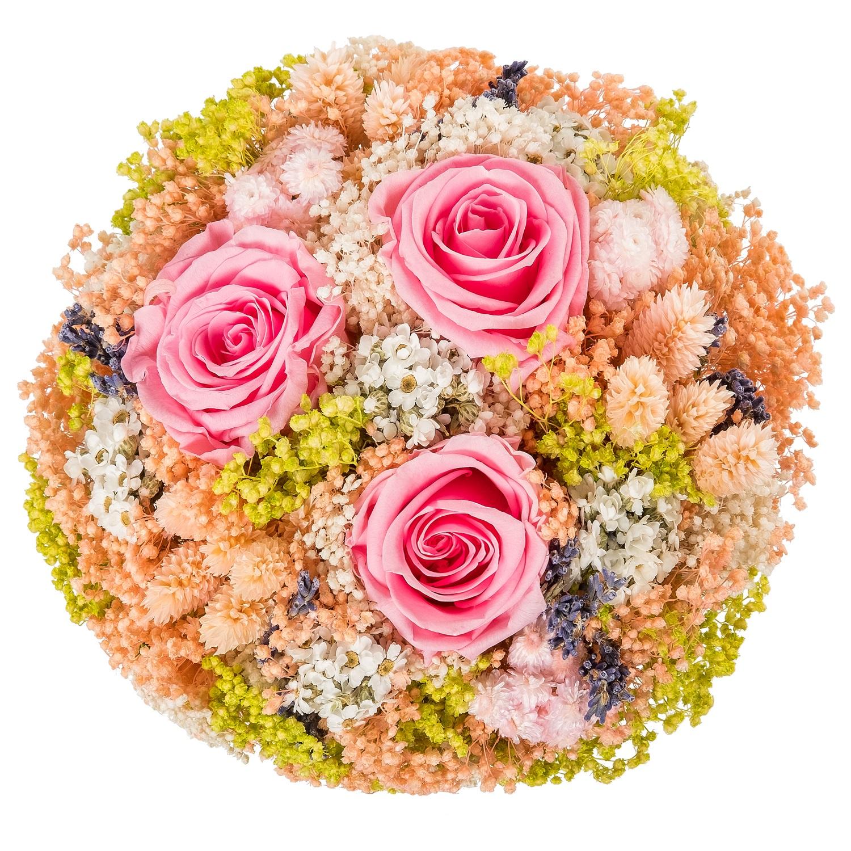 все цены на Букет из сухих и стабилизированных цветов Романтика розовый онлайн