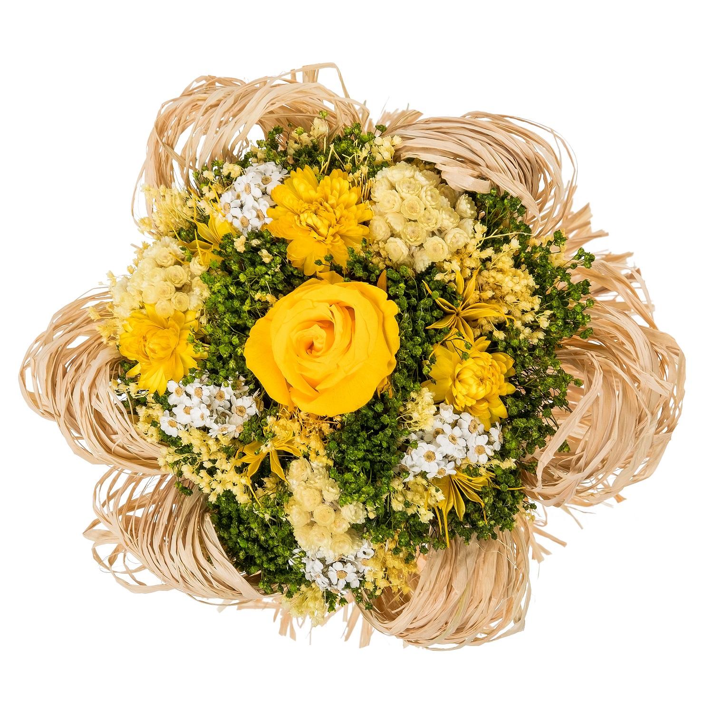 все цены на Букет из сухих и стабилизированных цветов Раффия желтый онлайн