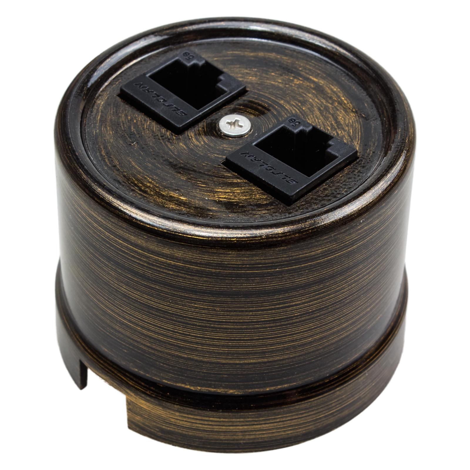 Розетка BIRONI компьютерная ЛИЗЕТТА ПЛАСТИК для наружной проводки, RJ45 CAT.5е, 2 разъема для подключения, цвет Бронза, негорючая В1-302-25 розетка duwi дельта для скрытой проводки одноместная цвет серебристый
