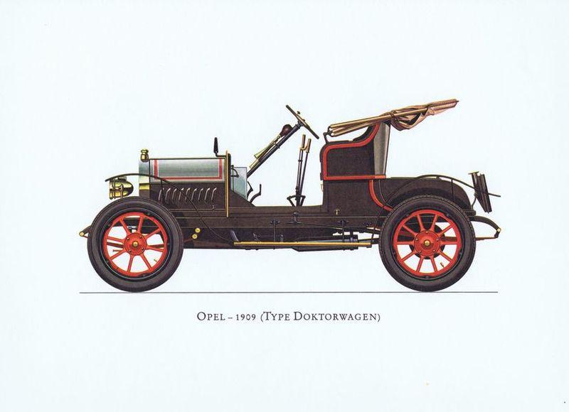 Гравюра Ariel-P Ретро автомобиль Опель Докторваген (Opel Doktorwagen) 1909 года. Офсетная литография. Англия, Лондон, 1968 год