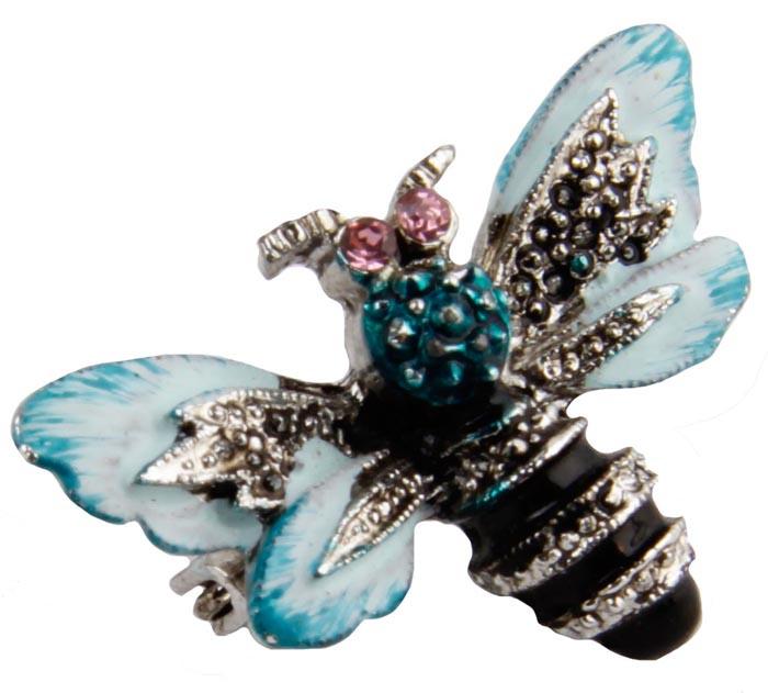 Брошь бижутерная Антик Хобби Мушка, Бижутерный сплав, Эмаль, Австрийские кристаллы, золотой, голубой, черный
