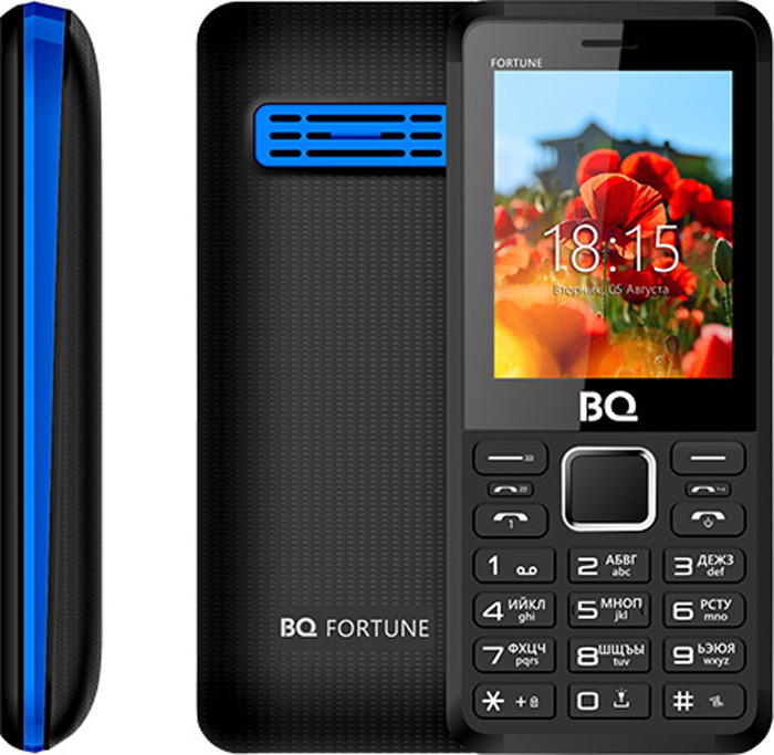 Мобильный телефон BQ 2436 Fortune P, черный, синий стоимость