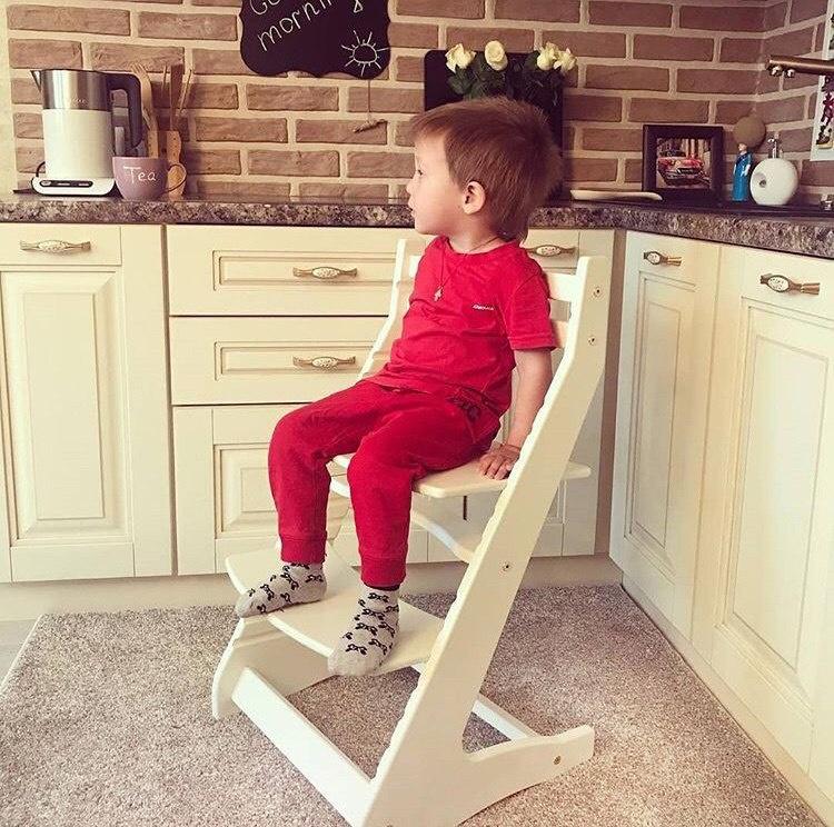 Растущий регулируемый стул. Детский стульчик для кормления Вырастайка - слоновая кость