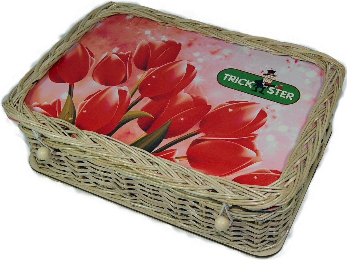 цена Набор листового чая Trickster Розовые тюльпаны, в плетенной шкатулке, 2 шт по 100 г онлайн в 2017 году