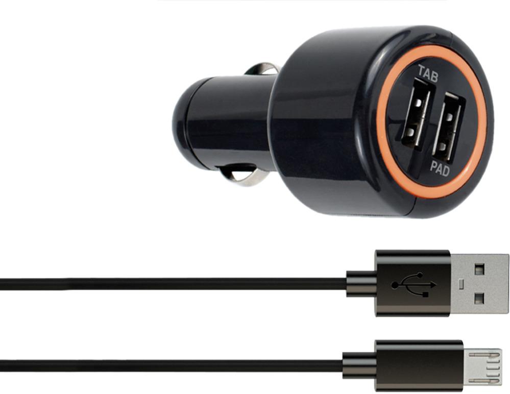 лучшая цена Автомобильное зарядное устройство Interstep IS-CC-MICRO002K-000B201, кабель microUSB, 2А, черный