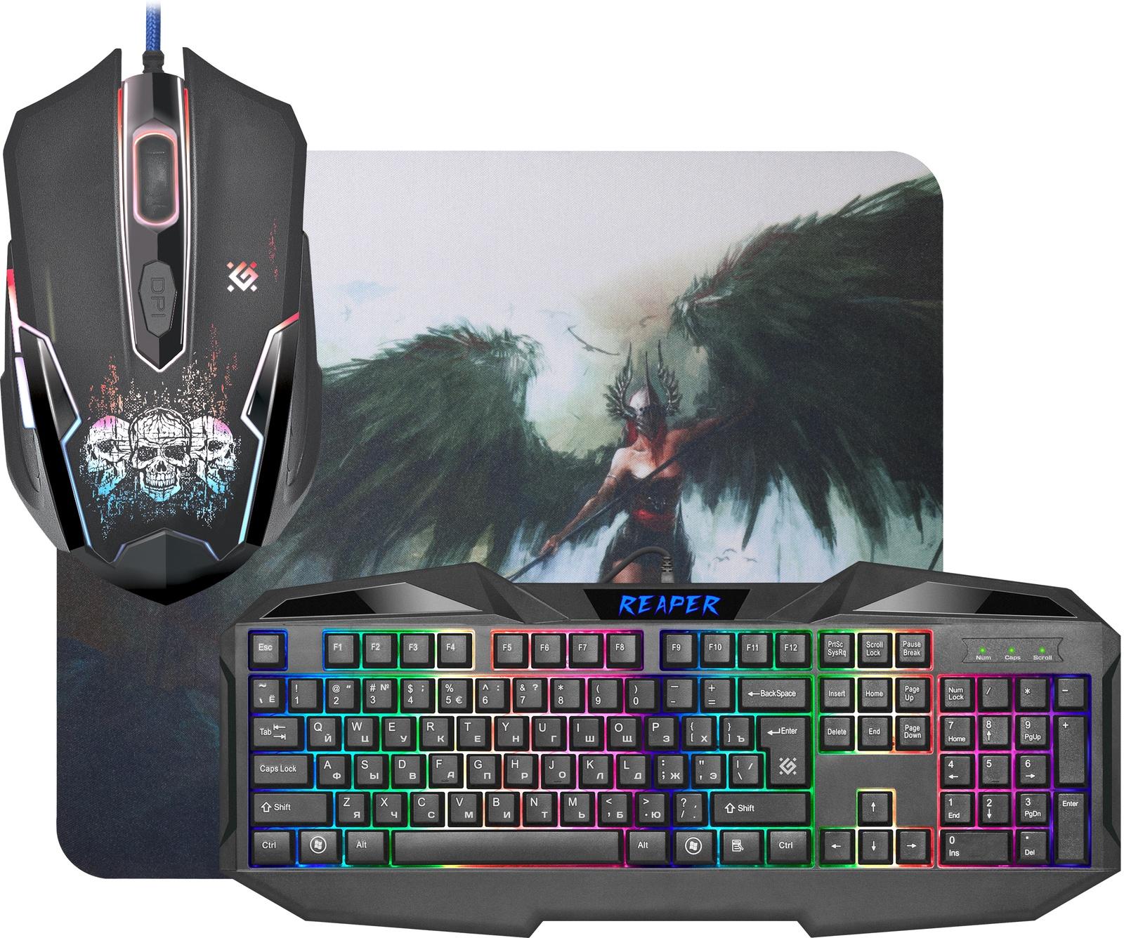 Комплект игровая мышь + клавиатура Defender Reaper MKP-018 RU, черный