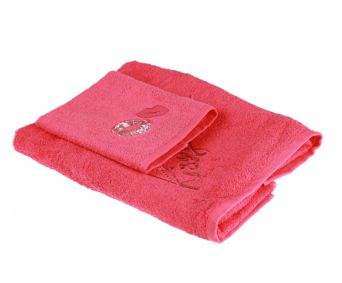 Набор банных полотенец Blumarine Kiss, красный набор банных полотенец blumarine dustin white белый