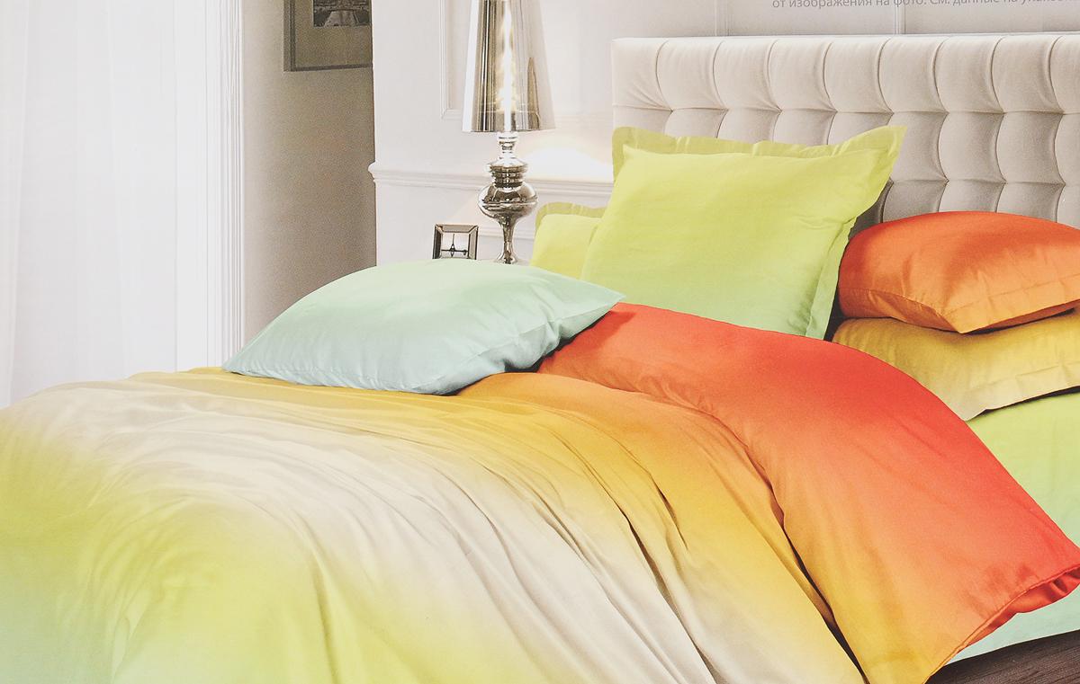 Комплект постельного белья Унисон Омбре Luxury. Мятный апельсин, 464894, 2-спальный, наволочки 50x70 комплект постельного белья унисон омбре luxury воздушная лаванда 386915 1 5 спальный наволочки 70x70