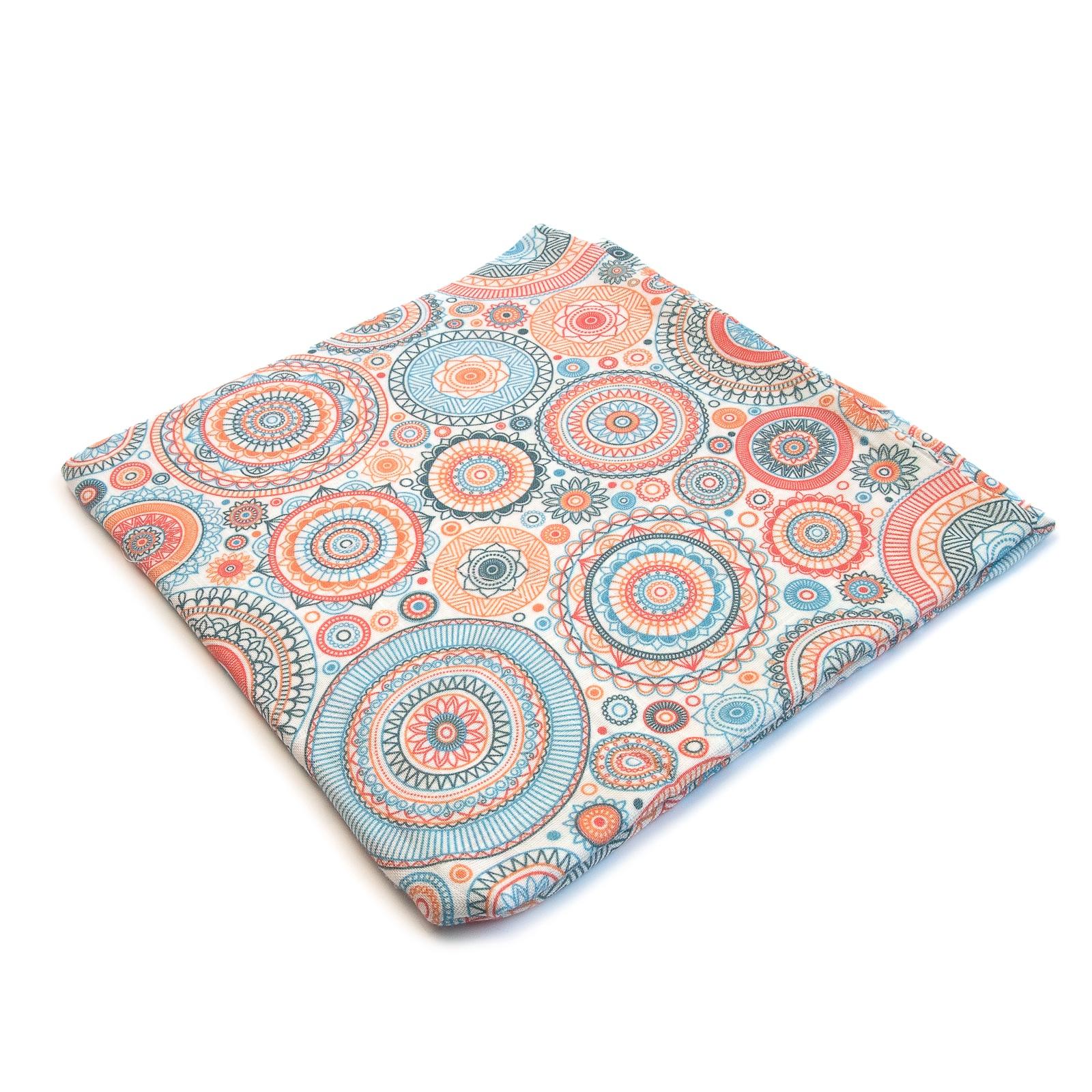 Пеленка текстильная MamSi Муслиновая пеленка Мандала оранжевый, голубой, серый