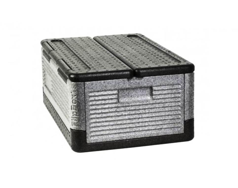 Термоконтейнер (короб, ящик, контейнер) пищевой (хранение напитков, еды, переноска ручная, для багажника автомобиля, сохранение тепла или холода) Flip-box компактный складной, 19 литров, для хранения холодного и горячего, аналог термосумки