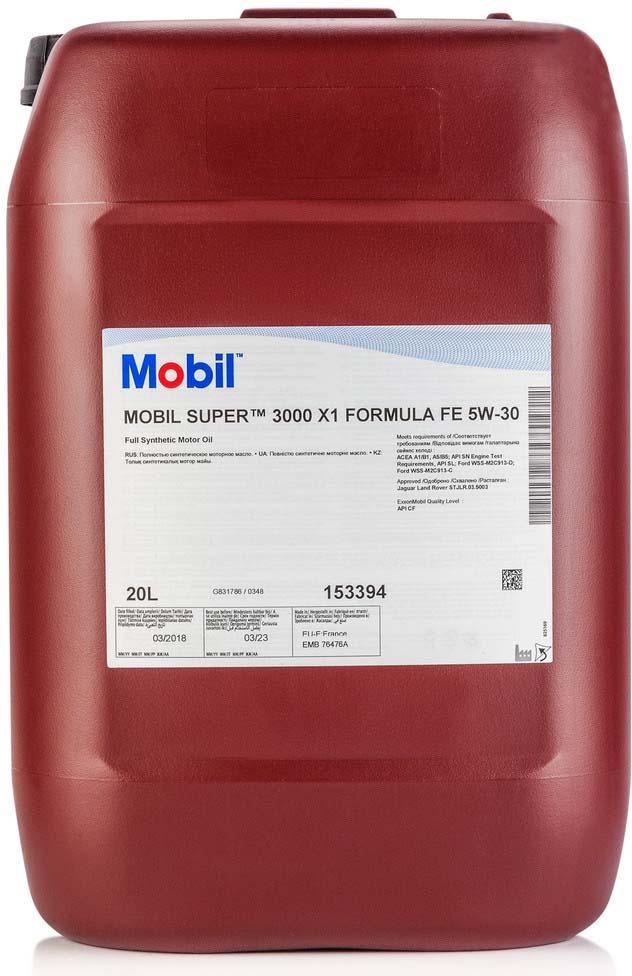 Моторное масло Mobil Super 3000 x1, 153394, синтетическое, Formula FE, 5W-30, 20 л моторное масло mobil super 3000 x1 5w 40 1 л синтетическое