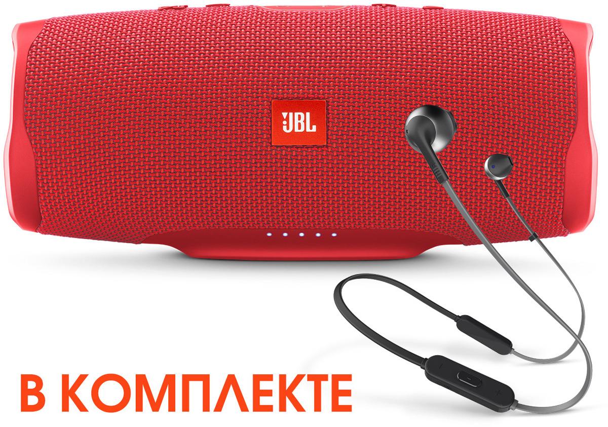 Комплект акустики JBL: активная акустическая система JBLCHARGE4RED, пользовательские наушники JBLT205BTBLK комплект профессиональной акустики jbl eon one pro