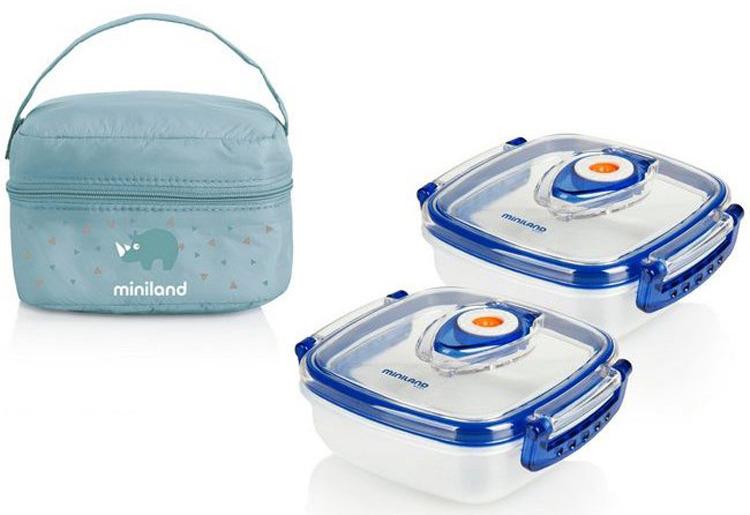 Термосумка Miniland Pack-2-Go HermifFresh, 2 контейнера по 330 мл, голубой цена и фото