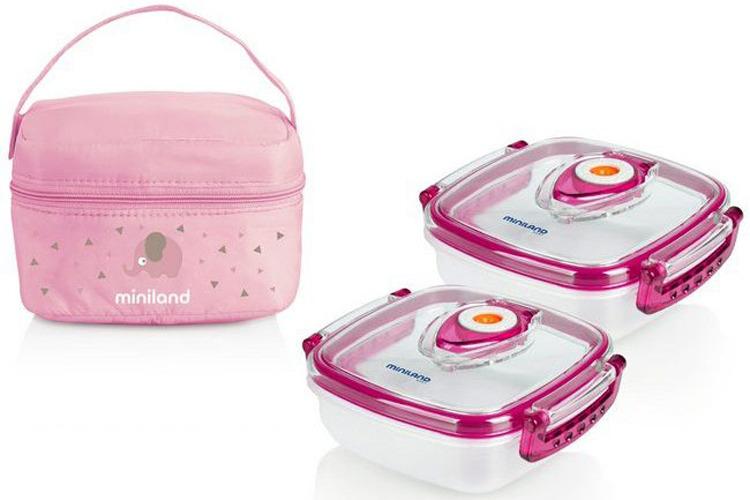 Термосумка Miniland Pack-2-Go HermifFresh, 2 контейнера по 330 мл, розовый цена и фото