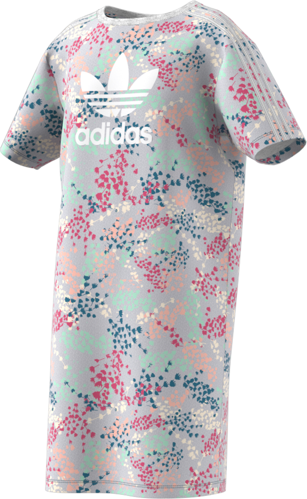 Платье для девочки Adidas Flw Tee Dress, цвет: разноцветный. EJ6298. Размер 170 платье oodji ultra цвет белый голубой 11900150 5m 13632 1270e размер 38 170 44 170