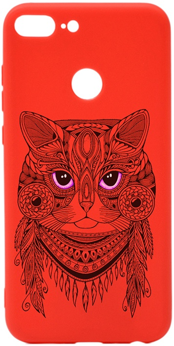 Чехол для сотового телефона GOSSO CASES для Honor 9 Lite Soft Touch Art Grand Cat Red, красный