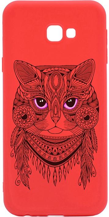 Чехол для сотового телефона GOSSO CASES для Samsung Galaxy J4+ Soft Touch Art Grand Cat Red, красный