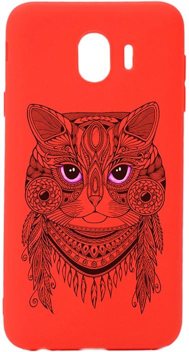 Чехол для сотового телефона GOSSO CASES для Samsung Galaxy J4 (2018) Soft Touch Art Grand Cat Red, красный
