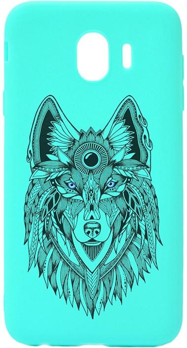 Чехол для сотового телефона GOSSO CASES для Samsung Galaxy J4 (2018) Soft Touch Art Grand Wolf Mint, голубой