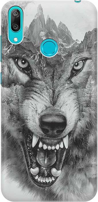 """Чехол для сотового телефона GOSSO CASES для Huawei Y7 (2019) с принтом """"Волк в горах"""", серый"""