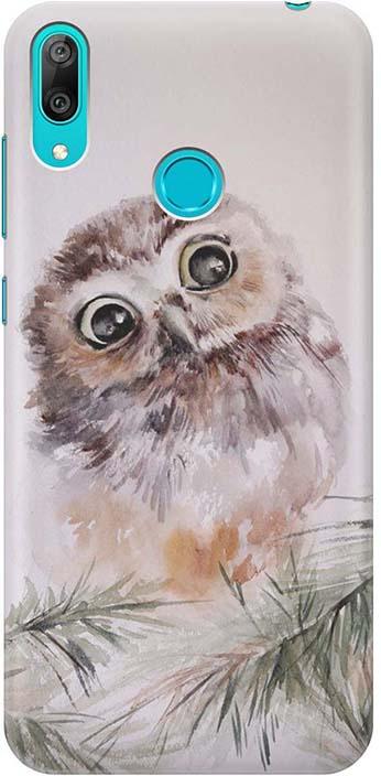 """Чехол для сотового телефона GOSSO CASES для Huawei Y7 (2019) с принтом """"Совенок"""", серый"""