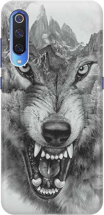 """Чехол для сотового телефона GOSSO CASES для Xiaomi Mi 9 с принтом """"Волк в горах"""", серый"""