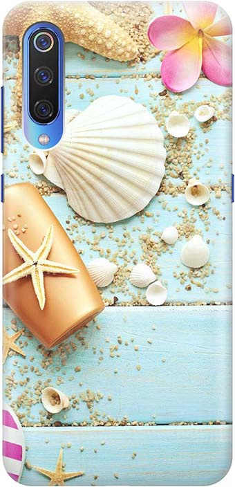 """Чехол для сотового телефона GOSSO CASES для Xiaomi Mi 9 с принтом """"Пляжный натюрморт"""", голубой"""