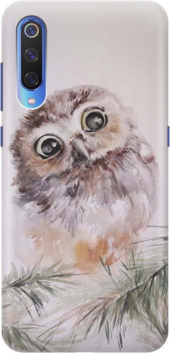 """Чехол для сотового телефона GOSSO CASES для Xiaomi Mi 9 с принтом """"Совенок"""", серый"""