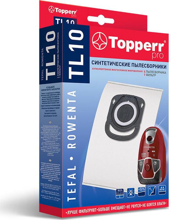 Пылесборник Topperr 1428 TL10, для пылесоса Tefal, Rowenta (ZR200540,..720,..940), 4 шт цена
