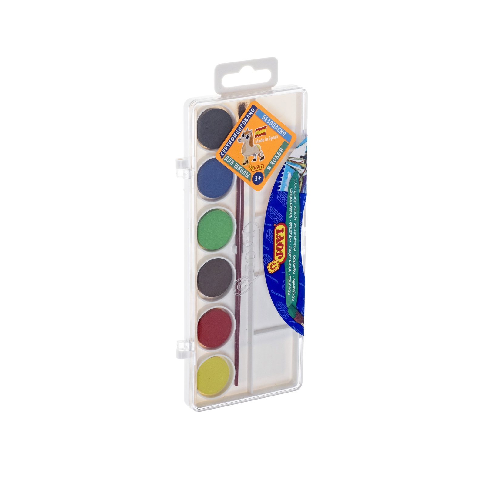 Краски акварельные JOVI Акварель d22мм 6 цв с кистью с европодвесом арт. 800/6 акварель jovi с кистью 6 цветов