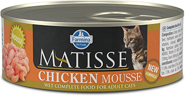 Корм консервированный для кошек Farmina Matisse, мусс с курицей, 85 г корм консервированный для кошек farmina matisse мусс с ягненком 85 г