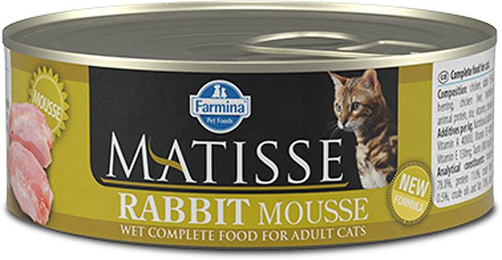 Корм консервированный для кошек Farmina Matisse, мусс с кроликом, 85 г корм консервированный для кошек farmina matisse мусс с ягненком 85 г