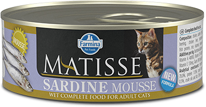 Корм консервированный для кошек Farmina Matisse, мусс с сардинами, 85 г корм консервированный для кошек farmina matisse мусс с ягненком 85 г