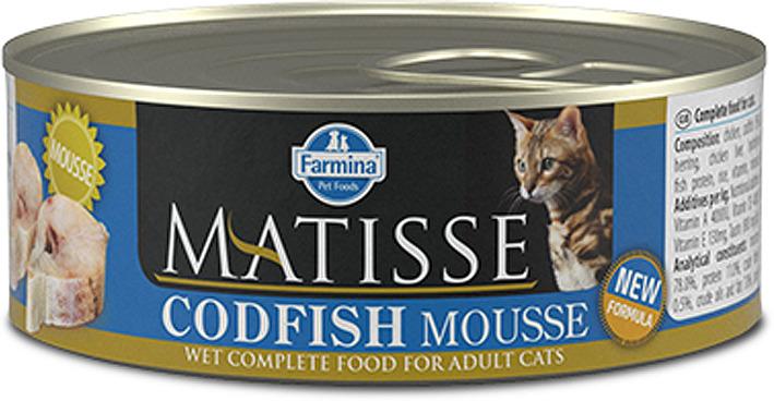 Корм консервированный для кошек Farmina Matisse, мусс с треской, 85 г корм консервированный для кошек farmina matisse мусс с ягненком 85 г
