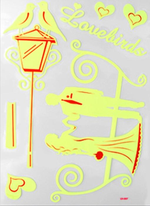 Наклейки ЛиС виниловые светящиеся в темноте 30х42см, Влюбленная пара, Винил