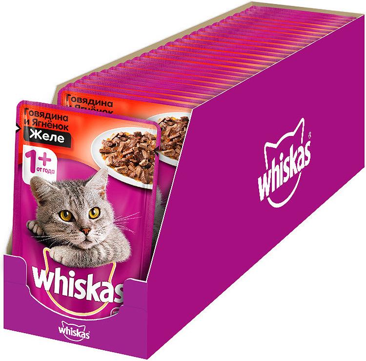 Корм консервированный для кошек Whiskas Желе с говядиной и ягненком, 28 шт по 85 г