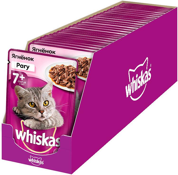 Корм консервированный Whiskas Рагу с ягненком, для кошек старше 7 лет, 28 шт по 85 г