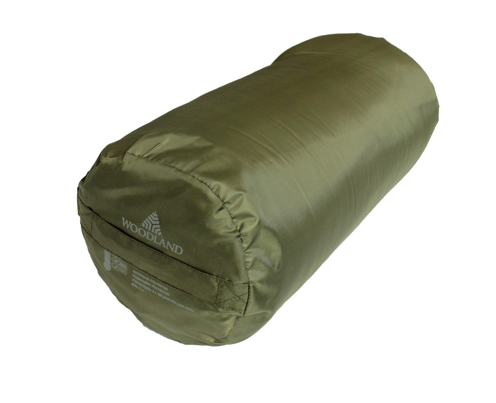Спальный мешок Woodland Camping+ 250, 67828, правосторонняя молния, оливковый