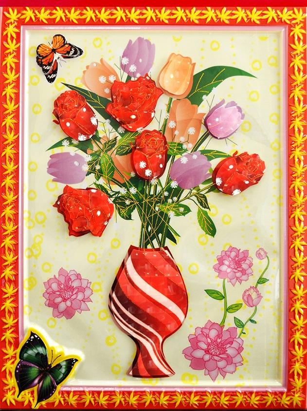 цена на Наклейка ЛиС Объемная картина-наклейка из пластика 32х42см, Цветы, PLA пластик
